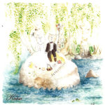 Morsiamen serkku Anna-Liisa Harju oli ikuistanut kutsukorttiin Kukkian rannasta Rautajärveltä ison kiven, jossa serkukset viettivät pienenä aikaa. Häiden teemana olivat koivut, kielot ja kevät.