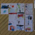 Honkalan seinä täyttyi palokunta- ja Kirkastusjuhla-aiheisista lasten piirroksista.