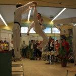 Sami Koskela esitteli vuoden 2009 Pälkäne tuottaa ja palvelee ämurskaa hyppypotkulla lähes kolmen metrin korkeudessa olevan laudan.