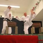 Jarkko Helminen ja Sami Koskela murskasivat tiiliä taekwondo-näytöksessä.
