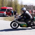 Nelitahtisella Benellillä ajanut Jouko Ryhänen oli Pälkäne TT:n kunniavieras. 74-vuotias Ryhänen ajoi parhaan kautensa TT-ajojen kultakaudella 50 vuotta sitten.