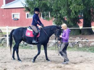 KR-tallien oma kasvattitamma Quadriga opettelee ratsun alkeita. Ratsastajana Maija Pehu ja kouluttajana Kaisu Rukko. Kuva: Kaisu Rukko