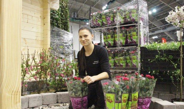 Hämeen Viherrakennus Oy:n messuosasto viimeistellään maalaisromanttiseen tyyliin sopivilla kukilla. – Tyyliin sopivia kukkia ja kasveja ovat esimerkiksi ruusut ja hortensiat, Mira Riihelä kertoo.