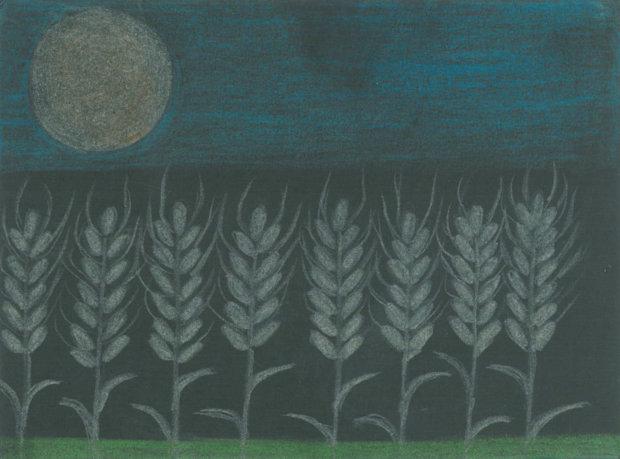 Eila Seppi piirsi Eino Leinon runon innoittamana täysikuun tähkäpäiden päällä.