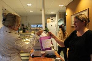 Merja Sahla onnistui saamaan Onnenkengän 4. viimeisen ämpärin pullapussin kylkiäisenä. Reetta Stenbergillä riitti kiirettä koko illan.