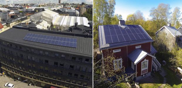 Aurinkopaneeleita asennetaan sekä omakotitalojen että kerrostalojen katoille.