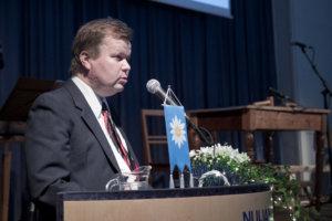 Pälkäneen 150-vuotisjuhlassa puhunut Kaarle Sulamaa kertoi kunnan ensivaiheista.