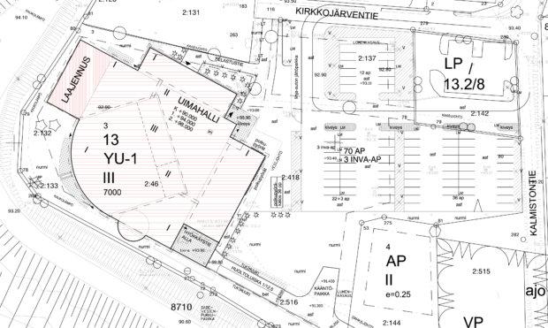 Laajennusosaa suunnitellaan Tampereentien puoleiseen päätyyn.