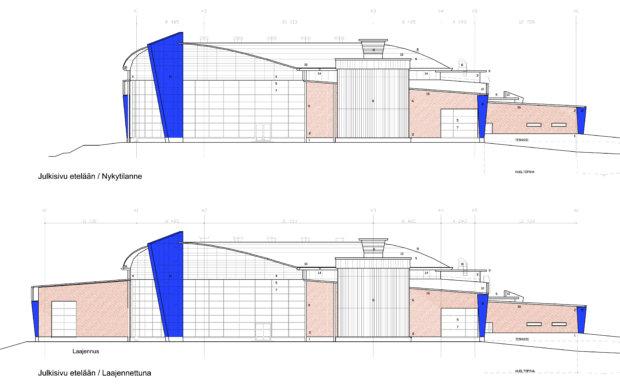 Tavoitteena on, että laajennus olisi sekä sisä- että ulkopinnoiltaan samanlainen kuin hallin aiemmin rakennettu osa.