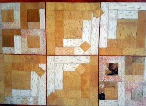 Tuija Vähävuori: Askeleita mökkipolulla. Hirsimökki on yksi tilkkutaiteen monista mallikertayksiköistä eli blokeista. Tuija on irrottanut työssä olevat tuohet yli 30 vuotta sitten. Ne ovat ohennettu paperinohueksi. Materiaalina on käytetty lisäksi japanilaista käsintehtyä paperia.