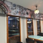Samalla rauniokirkkokuosilla tehtiin myös verhot kahvilatiloihin.