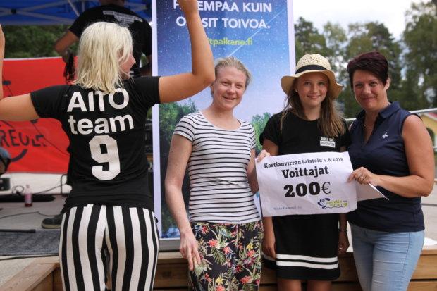 Sanna Hämäläinen, Niina Nevala, Iina Järvenpää ja Lilli Toukola nappasivat ensimmäisen Kostianvirran taistelun voiton Aito Säästöpankin joukkueelle.