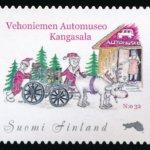 Vehoniemen joulupostimerkissä ajellaan tänä vuonna hevosajoneuvoa muistuttavalla automobiililla