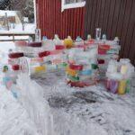 Haltian laskiaistapahtumassa tehtiin jäätaidetta yhteisvoimin