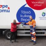 Repe ja Romu kiertävät kesäkuussa Kangasalla, josta kerättiin viime vuonna kodin vaarallisia jätteitä 9800 kilogrammaa
